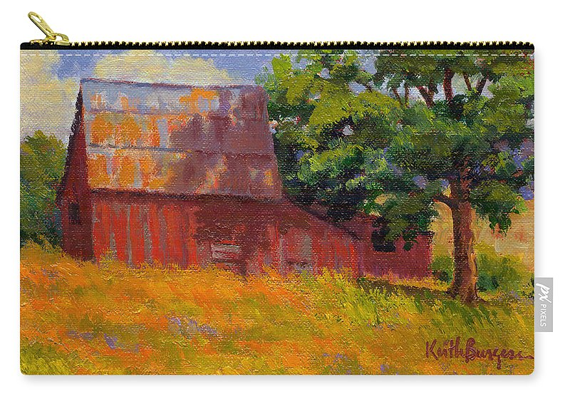 Landscape Carry-all Pouch featuring the painting Foglesong Barn by Keith Burgess