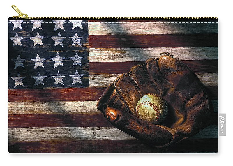 Folk Art American Flag Carry-all Pouch featuring the photograph Folk art American flag and baseball mitt by Garry Gay