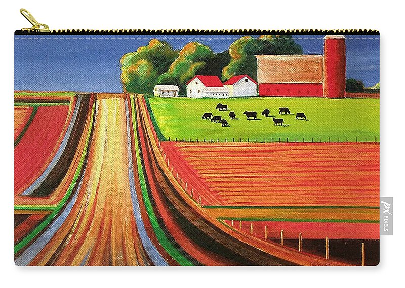 Folk Art Carry-all Pouch featuring the painting Folk Art Farm by Toni Grote
