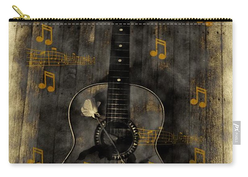 Guitar Carry-all Pouch featuring the photograph Folk Guitar by Bill Cannon