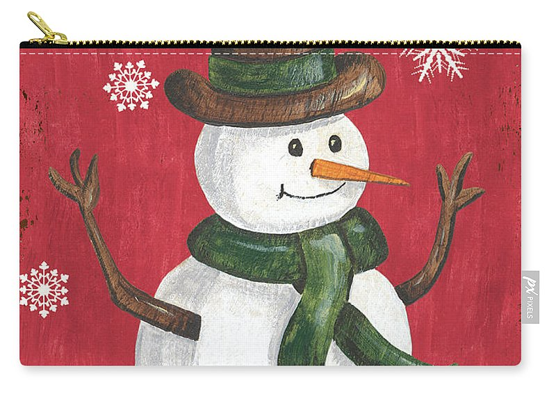 Snowman Carry-all Pouch featuring the painting Folk Snowman by Debbie DeWitt