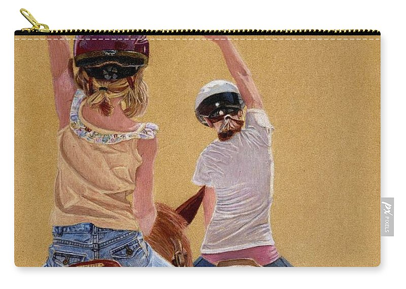 Colored Pencil Carry-all Pouch featuring the painting Follow The Leader - Horseback Riding Lesson Painting by Patricia Barmatz