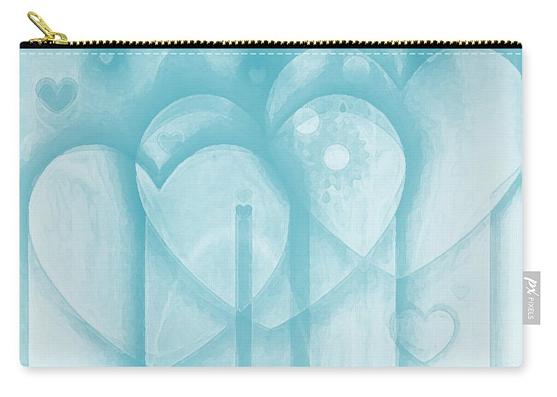 Hearts Carry-all Pouch featuring the digital art Follow Your Heart by Linda Sannuti