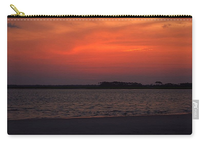 Sunset Carry-all Pouch featuring the photograph Folly Beach Sunset by Michael Colgate