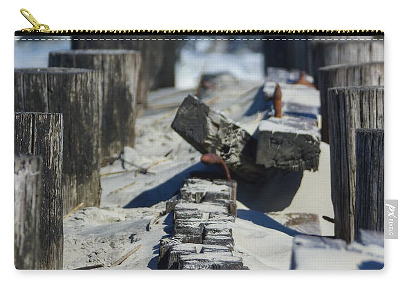 America Carry-all Pouch featuring the photograph Folly Sea Wall by Jennifer White