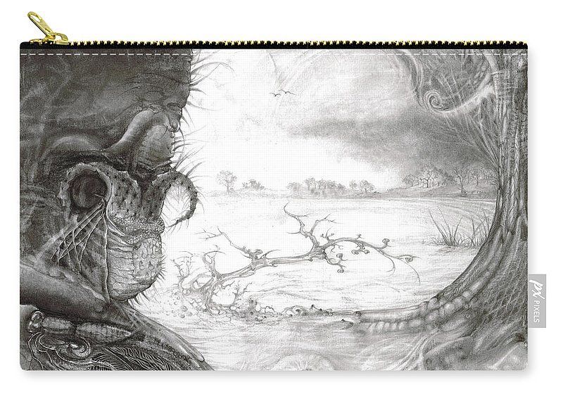 Fomorii Carry-all Pouch featuring the drawing Fomorii Swamp by Otto Rapp