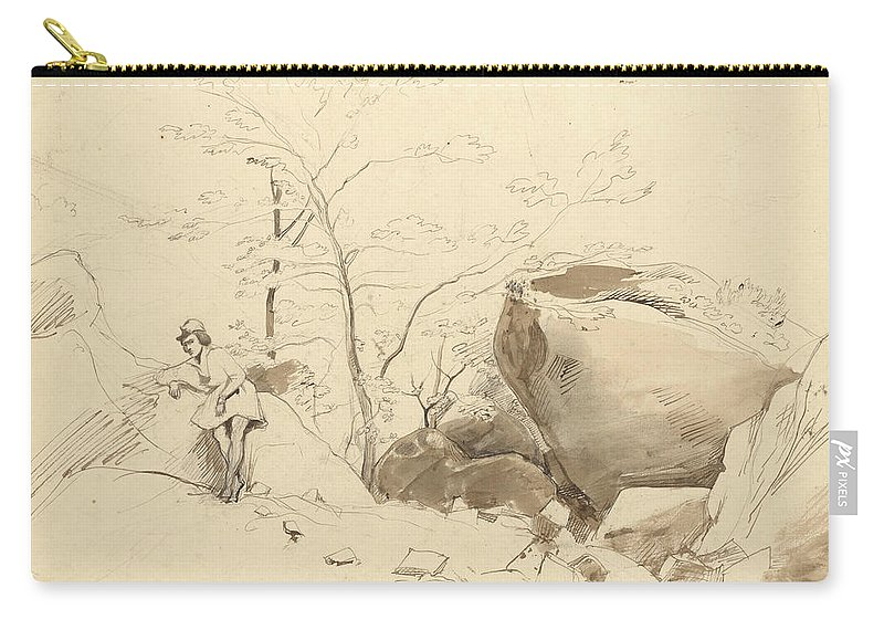 Jean-baptiste-camille Corot Carry-all Pouch featuring the drawing Fontainebleau, Figure Leaning Against A Rock by Jean-Baptiste-Camille Corot