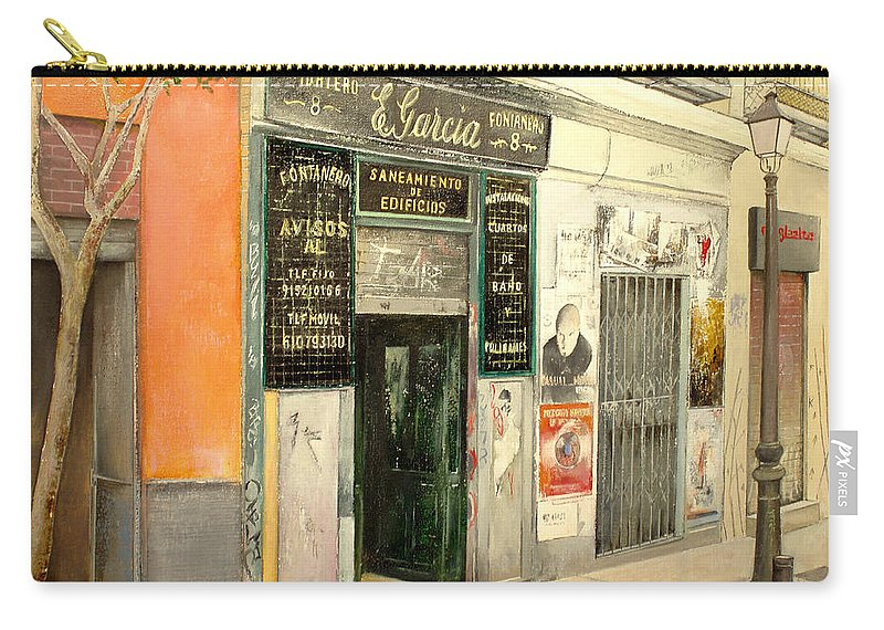 Streetscene Carry-all Pouch featuring the painting Fontaneria E.garcia by Tomas Castano