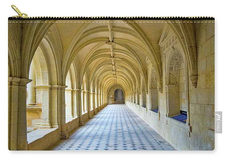Fontevraud Abbey Cloister Carry-all Pouch featuring the photograph Fontevraud Abbey Cloister, Loire, France by Curt Rush