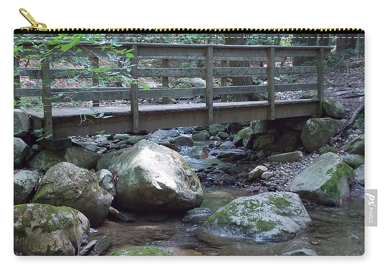 North Adams Carry-all Pouch featuring the photograph Foot Bridge Over Notch Brook by Catherine Gagne