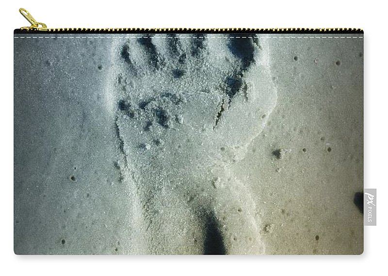 Foot Print Carry-all Pouch featuring the photograph Foot Print In The Sand by Bill Cannon