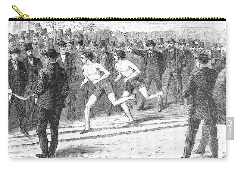 1868 Carry-all Pouch featuring the photograph Foot Race, 1868 by Granger