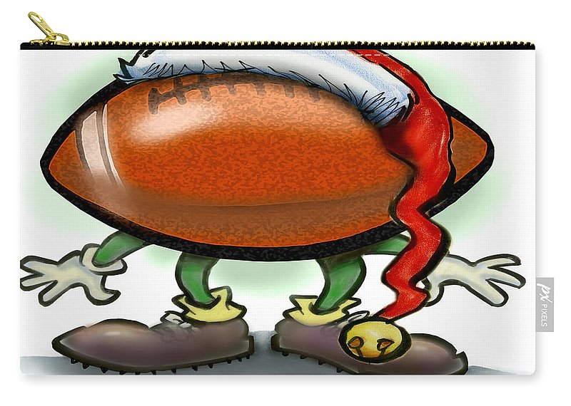 Football Carry-all Pouch featuring the greeting card Football Christmas by Kevin Middleton