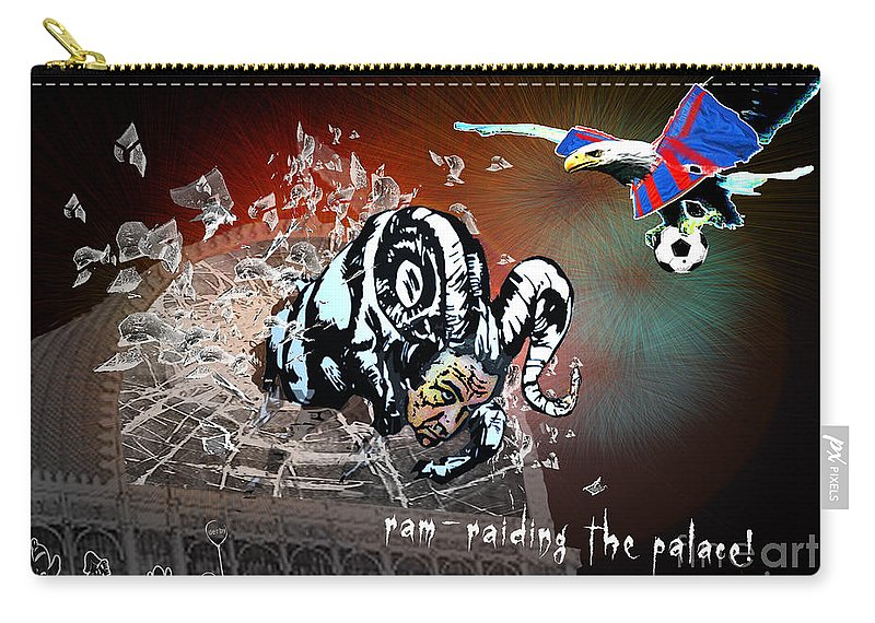 Football Calendar 2009 Derby County Football Club Crystal Palace Artwork Miki Carry-all Pouch featuring the painting Football Derby Rams Against Crystal Palace Eagles by Miki De Goodaboom