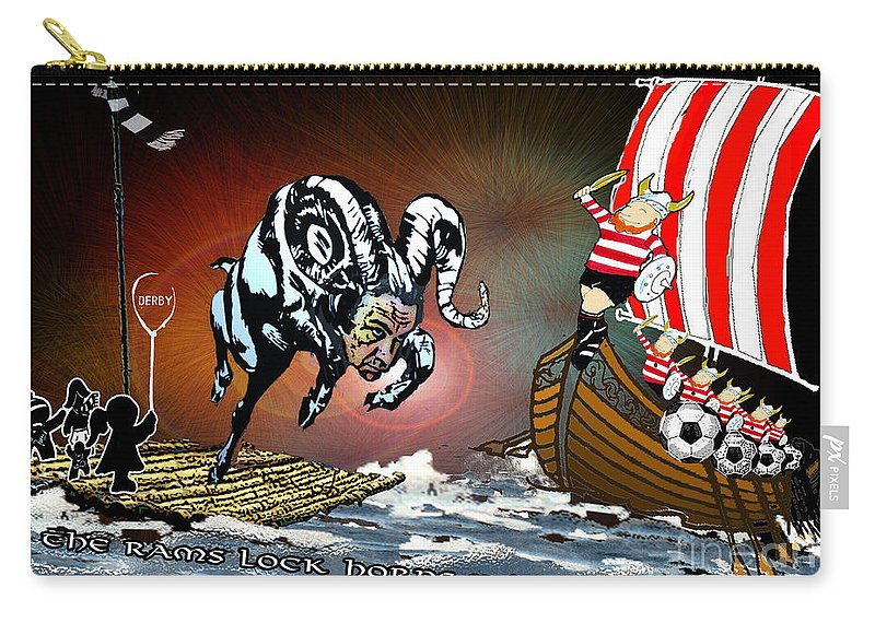 Football Calendar 2009 Derby County Football Club Doncaster Artwork Miki Carry-all Pouch featuring the painting Football Derby Rams Against Doncaster Vikings by Miki De Goodaboom
