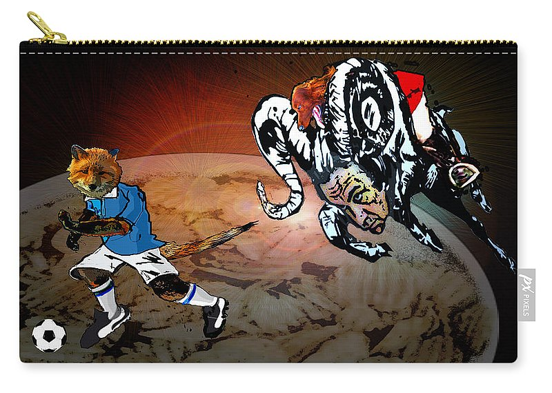 Football Calendar 2009 Derby County Football Club Leicester Artwork Miki Carry-all Pouch featuring the painting Football Derby Rams Against Leicester Foxes by Miki De Goodaboom
