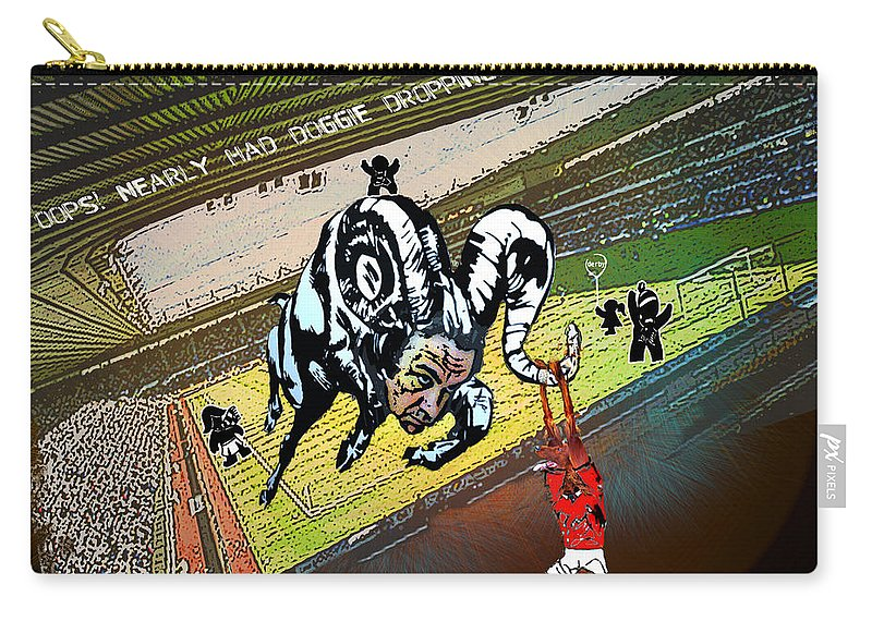 Football Calendar 2009 Derby County Football Club Nottingham Forest Artwork Miki Carry-all Pouch featuring the painting Football Derby Rams Against Nottingham Forest Red Dogs by Miki De Goodaboom