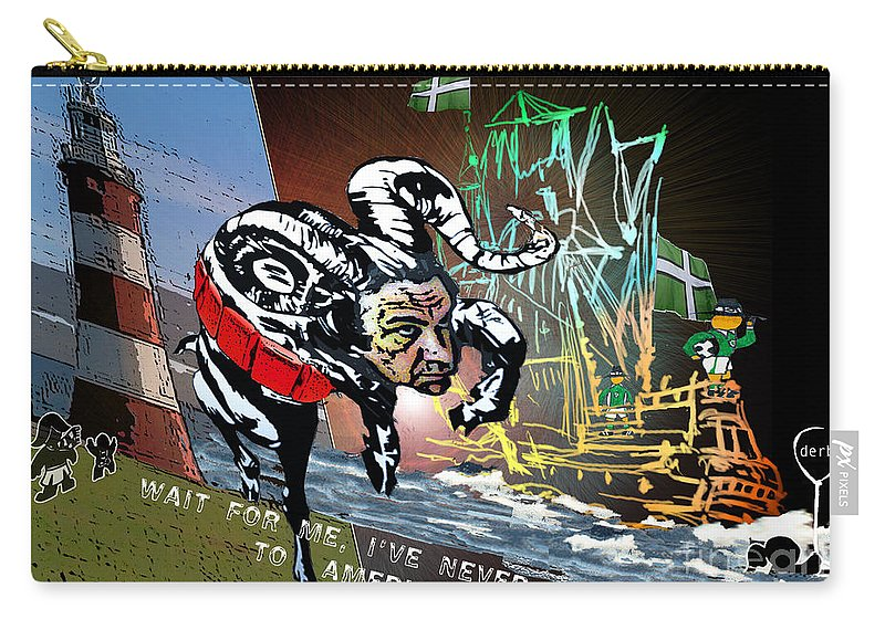 Football Calendar 2009 Derby County Football Club Plymouth Artwork Miki Carry-all Pouch featuring the painting Football Derby Rams Against Plymouth Pilgrims by Miki De Goodaboom