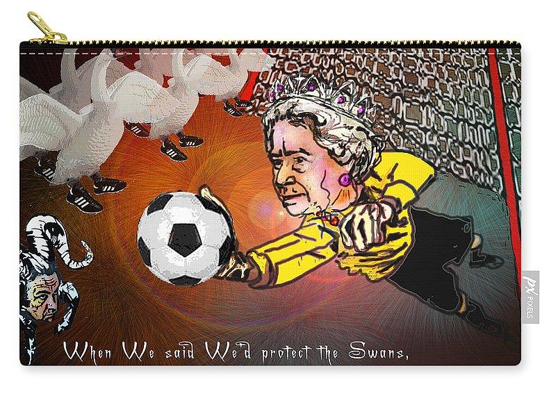 Football Calendar 2009 Derby County Football Swansea Artwork Miki Carry-all Pouch featuring the painting Football Derby Rams Against Swansea Swans by Miki De Goodaboom
