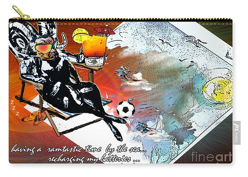 Football Calendar 2009 Derby County Football Club Artwork Miki Carry-all Pouch featuring the painting Football Derby Rams On Holidays By The Sea by Miki De Goodaboom