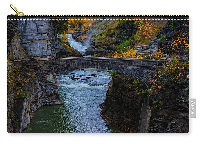 Autumn Photographs Photographs Carry-all Pouch featuring the photograph Footbridge At Lower Falls by Rick Berk