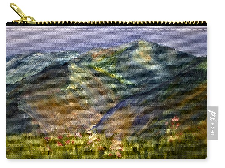 Mountains Carry-all Pouch featuring the painting Foothills by Tabetha Landt