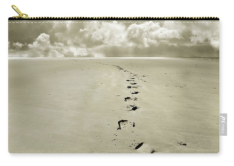 Footprints Carry-all Pouch featuring the photograph Footprints In Sand by Mal Bray