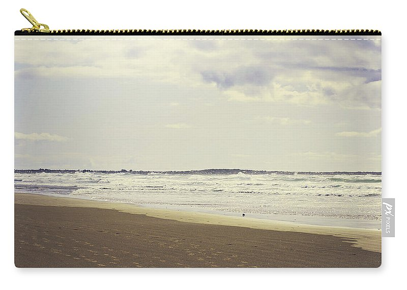 Footprints Carry-all Pouch featuring the photograph Footprints On The Shore by Janie Johnson