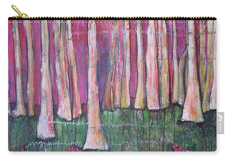 Aspen Trees Carry-all Pouch featuring the painting For Page Turner by Laurie Maves ART