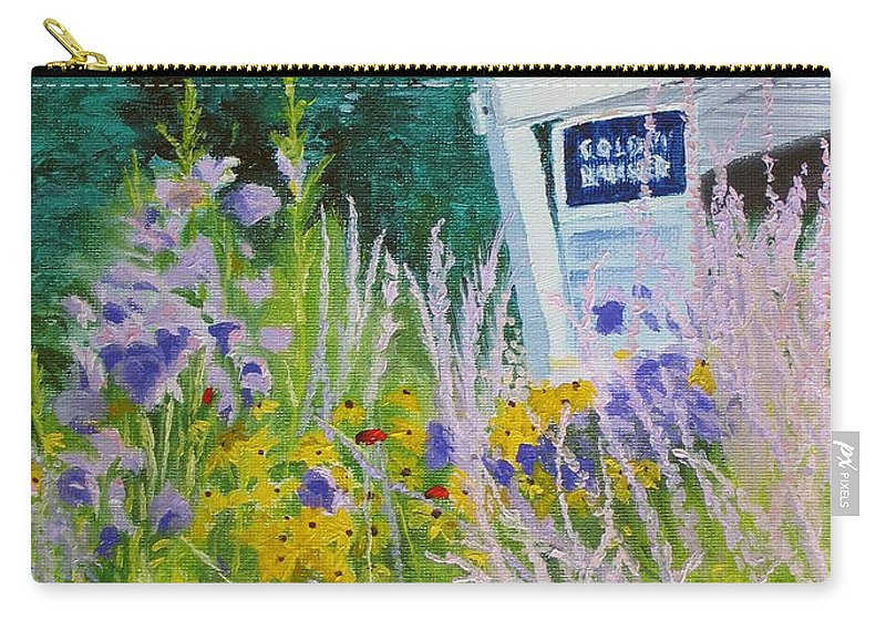 Landscape Carry-all Pouch featuring the painting For Sale - A Patch Of Paradise by Lea Novak