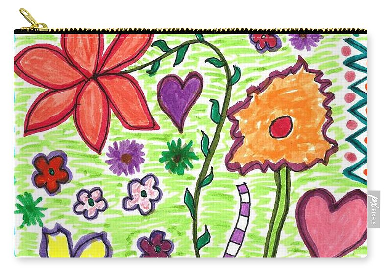 Drawing Carry-all Pouch featuring the drawing For The Love Of Flowers by Susan Schanerman