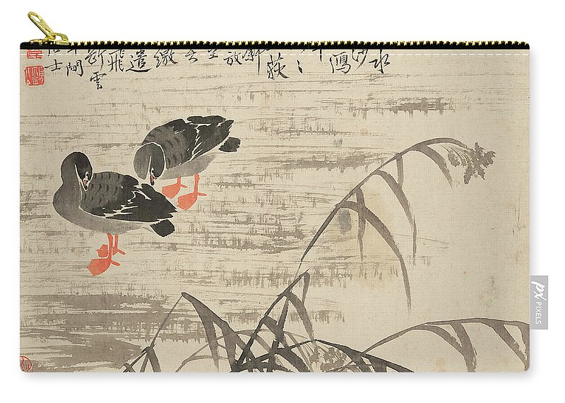 Carry-all Pouch featuring the painting Foraging In The Wild Goose River by Bian Shoumin