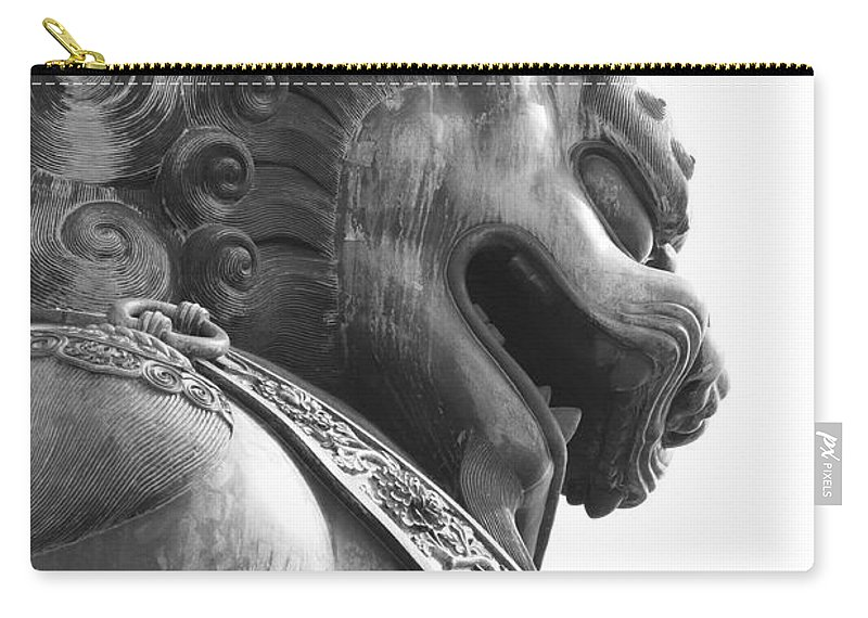 China Carry-all Pouch featuring the photograph Forbidden City Lion - Black And White by Carol Groenen