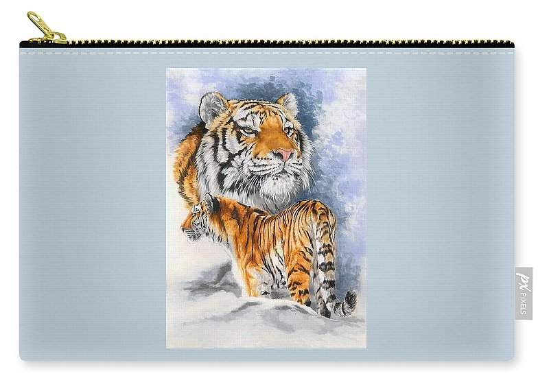 Big Cats Carry-all Pouch featuring the mixed media Forceful by Barbara Keith