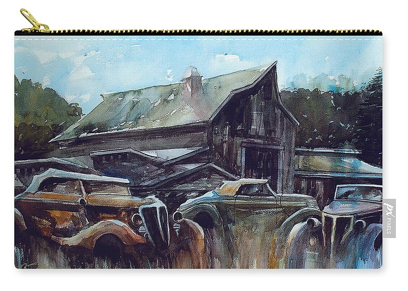 Barn Carry-all Pouch featuring the painting Ford Cabriolets Guard the Barn by Ron Morrison