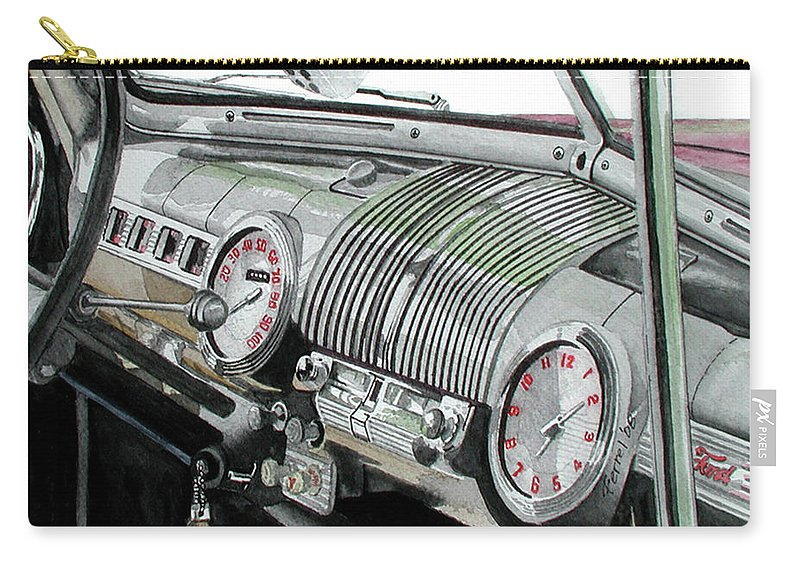 Car Carry-all Pouch featuring the painting Ford Dash by Ferrel Cordle