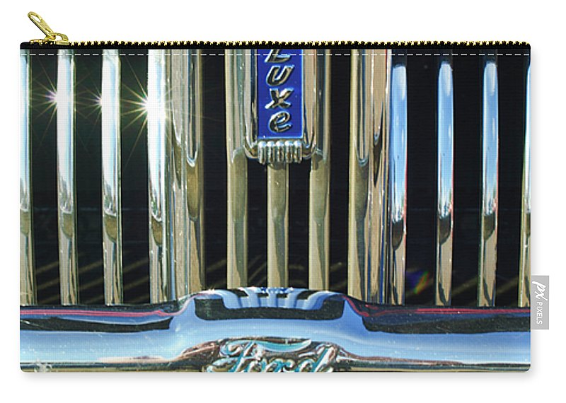 Ford Deluxe Carry-all Pouch featuring the photograph Ford Deluxe Grille by Jill Reger
