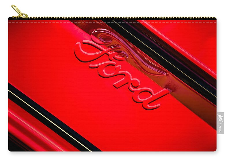 Ford Emblem Carry-all Pouch featuring the photograph Ford Emblem -0841c by Jill Reger