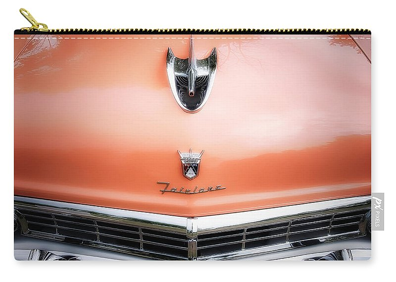 Car Photograph Junk Rust Classic Car Photographer Best Car Photography Automotive Transportation Car Photos Abstract Car Detail Vintage Drag Cars Collector Cars Emblems Car Emblem Signs Neon Buildings Carry-all Pouch featuring the photograph Ford Fairlane #2 by Jerry Golab