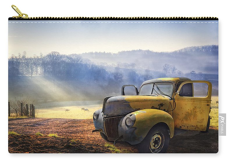 Appalachia Carry-all Pouch featuring the photograph Ford In The Fog by Debra and Dave Vanderlaan