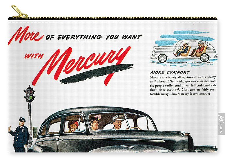 1946 Carry-all Pouch featuring the photograph Ford Mercury Ad, 1946 by Granger