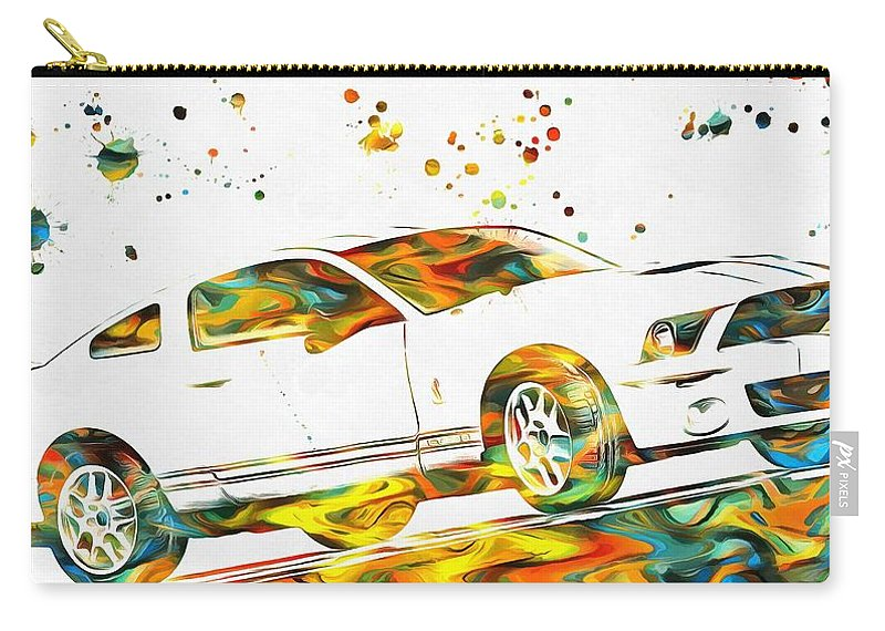 Ford Mustang Paint Splatter Carry-all Pouch featuring the painting Ford Mustang Paint Splatter by Dan Sproul