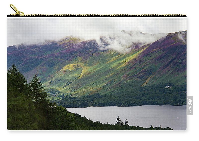 Cumbria Lake District Carry-all Pouch featuring the photograph Forest And Lake Derwent Water Drama by Iordanis Pallikaras