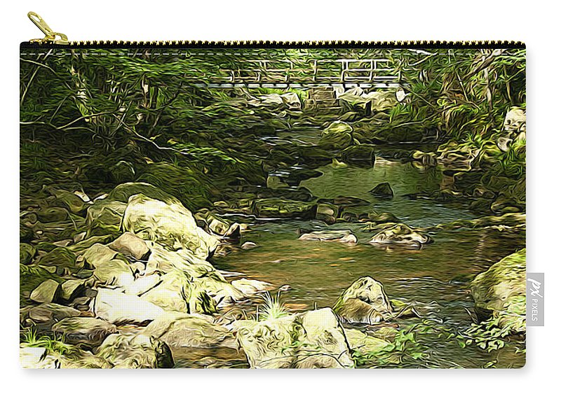 Abstract Carry-all Pouch featuring the photograph Forest Bridge by Svetlana Sewell