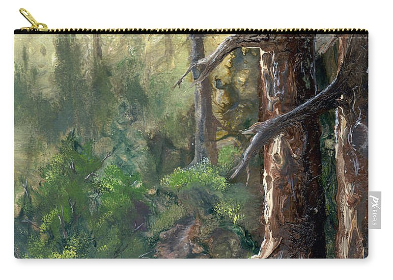 Trees Carry-all Pouch featuring the painting Forest Deep by Sherry Shipley