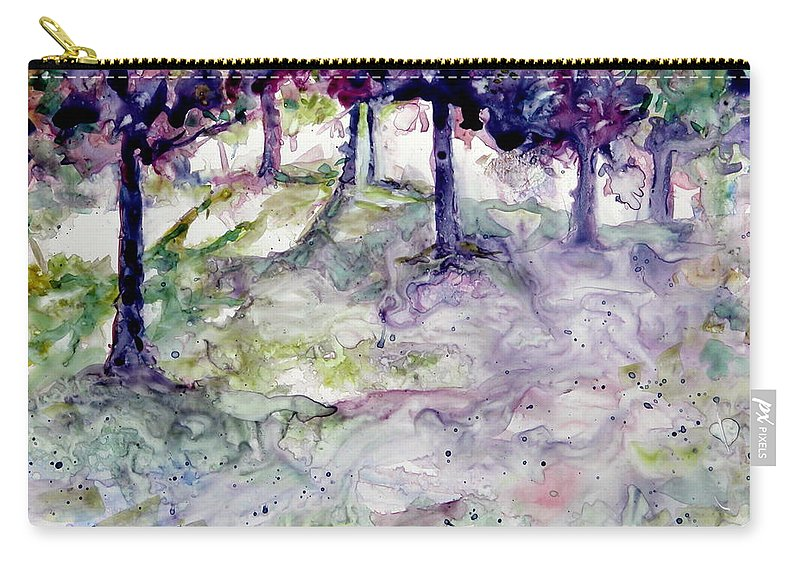 Fastasy Carry-all Pouch featuring the painting Forest Fantasy by Jan Bennicoff