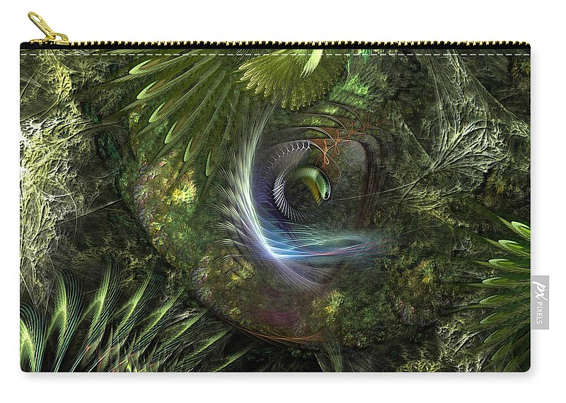 Abstract Carry-all Pouch featuring the digital art Forest Floor Fantasy by Casey Kotas