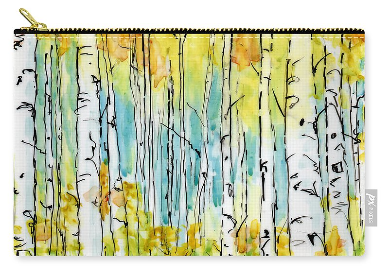 Art Carry-all Pouch featuring the painting Forest For The Trees by Mary Benke