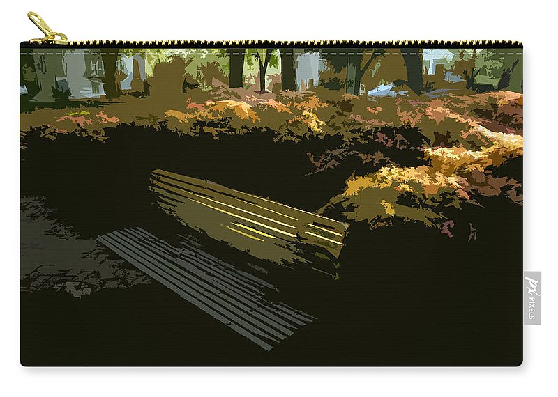 Forest Gump Carry-all Pouch featuring the painting Forest Gump's Bench by David Lee Thompson