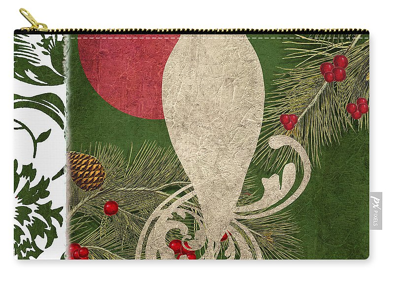 Owl Carry-all Pouch featuring the painting Forest Holiday Christmas Owl by Mindy Sommers